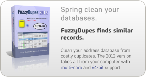 Spring-clean your databases. FuzzyDupes finds similar records.